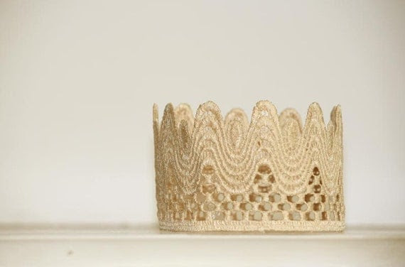 Baby crown Gold Lace Crown  baby headband photo prop vintage style