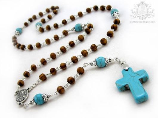 Mens wood Rosary stone cross boys rosary wooden rosaries