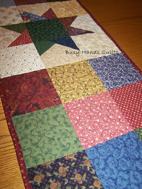 Scrappy Star 9-Patch Table Runner Quilt