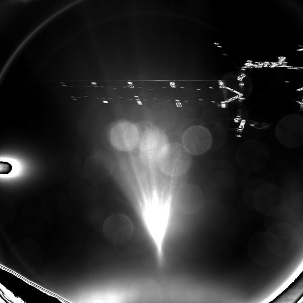 ESA's Rosetta orbiter as seen by Philae after the probe is deployed for a 7-hour journey to comet 67P/Churyumov–Gerasimenko's surface, on November 12, 2014.