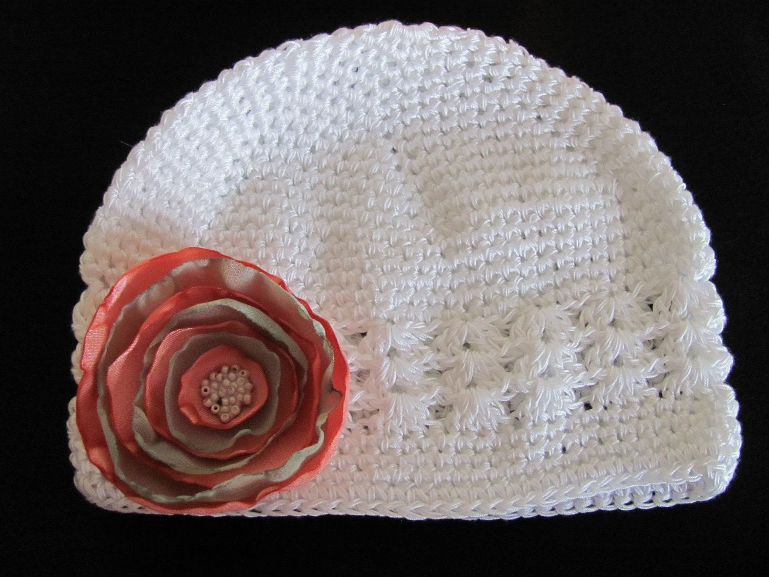 Hair Flowers Clip With Knit Hat