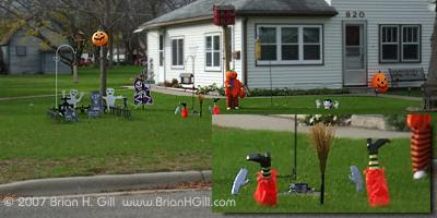 Halloween yard decorations: with crash landing