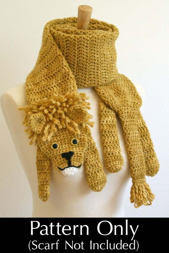 PDF Crochet Pattern for Lion Scarf - DIY Fashion Tutorial