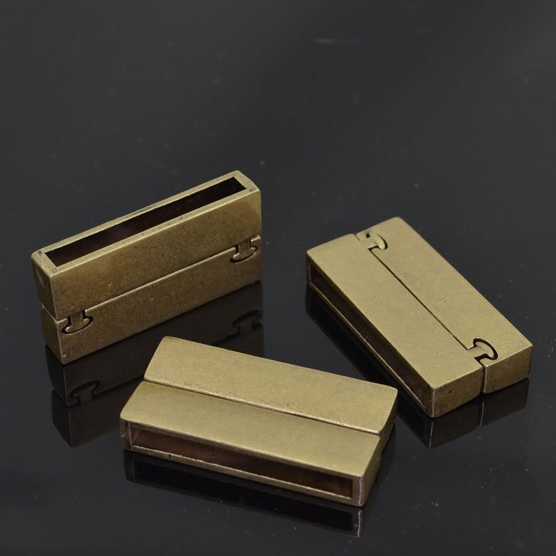 s42008 Clasp - Magnetic -  Rectangle with Knob Pins - Matte Antique Gold (1)