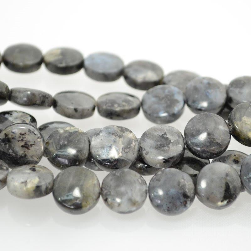 s40356 Stone Beads - 12 mm Coin - Larvikite (strand)