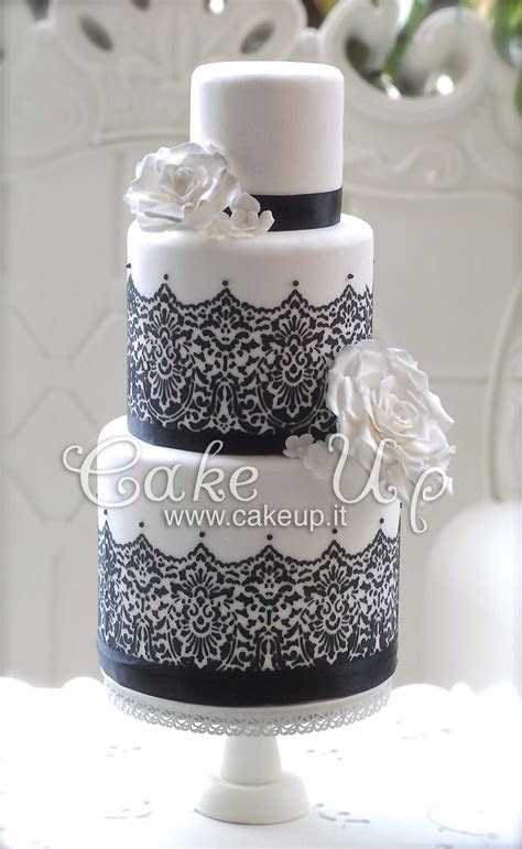 black & white lace wedding cake   Specialty/wedding Cakes