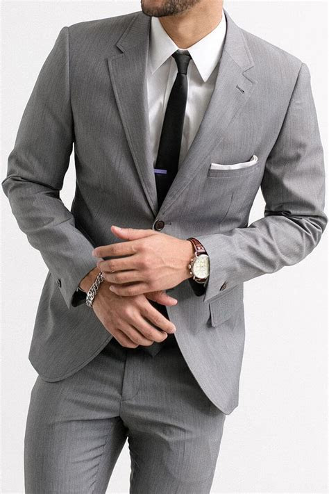 mens gray suit hardon clothes
