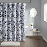 Buy Odette Jacquard Shower Curtain at easyhomelinks Blue