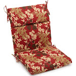 Blazing Needles 20 inch by 42 inch Spun Polyester Outdoor Squared Seat/Back Chair Cushion Montfleuri Sangria