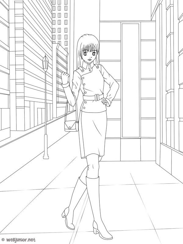 Une Fille à La Mode Coloriage Mangas Gratuit Sur Webjunior