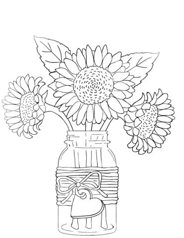 Dibujo De Girasoles En Florero Para Colorear Dibujos Para Colorear