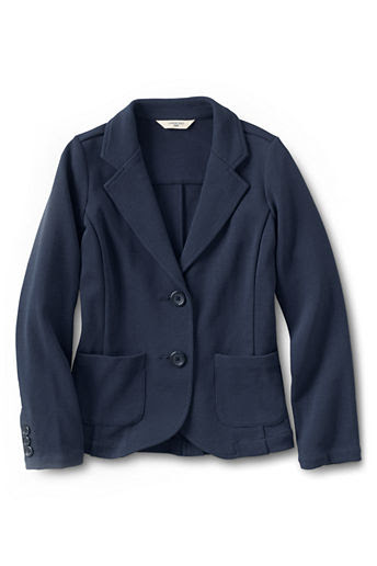 Girls' Double Knit Button-front Blazer - Classic Navy, 8
