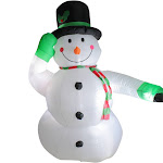 8' Animated Inflatable Lighted Standing Snowman Christmas Outdoor Decoration by Christmas Central