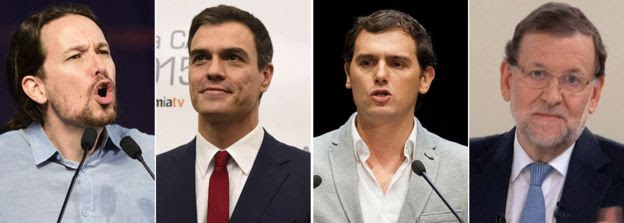 Spanish party leaders from L to R: Pablo Iglesias, Pedro Sanchez, Albert Rivera and Mariano Rajoy