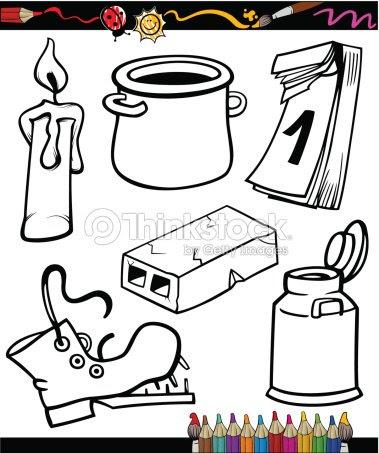 Conjunto De Objetos Para Colorear Libro De Historieta Arte Vectorial