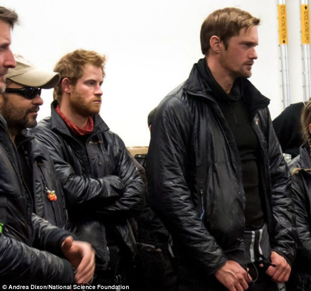 Prince Hairy: Harry, sporting a full beard, and fellow Walking With The Wounded trekkers, including the Team US coach, Swedish actor Alexander Skarsgard, were given a tour of NSF's Amundsen-Scott Pole Station