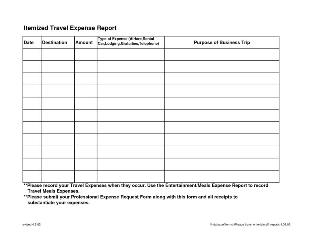 expense report template word 3