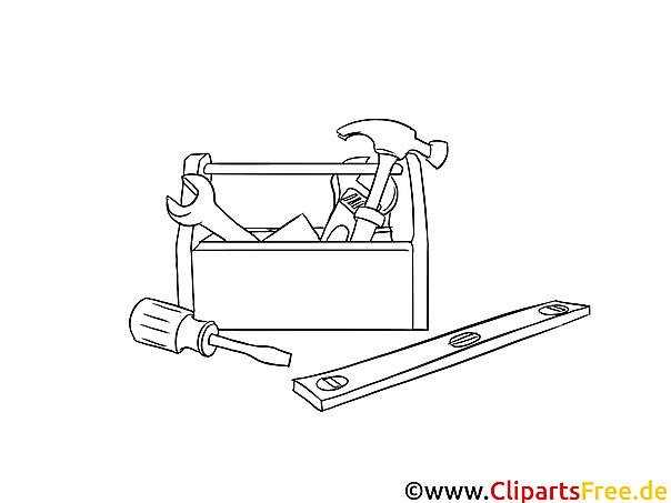 werkzeuge handwerker malvorlage bild grafik zum ausmalen
