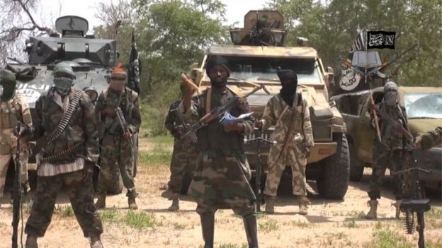 Screen grab of Boko Haram fighters