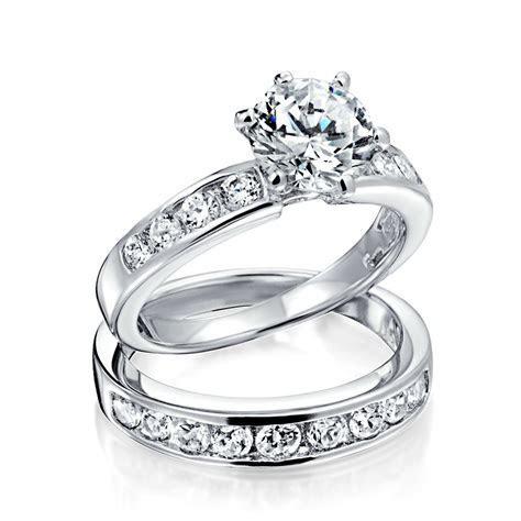 Vintage Round Cut CZ Engagement Wedding Ring Set 1.5ct