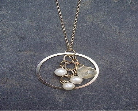 Gold circle eternity pendant w/ vintage pearls and lemon quartz stone