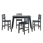 5 Piece Counter Height Dining Set Kitchen Table - Color: Black