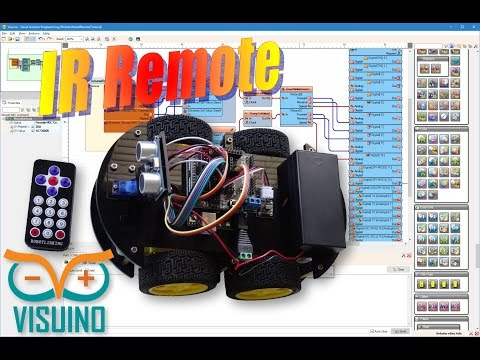 Visuino Video Tutorial: Program Infrared Remote Controlled Arduino Smart Car Robot with Visuino