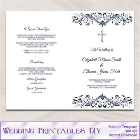 Catholic Wedding Program Template, Diy Navy Blue Cross