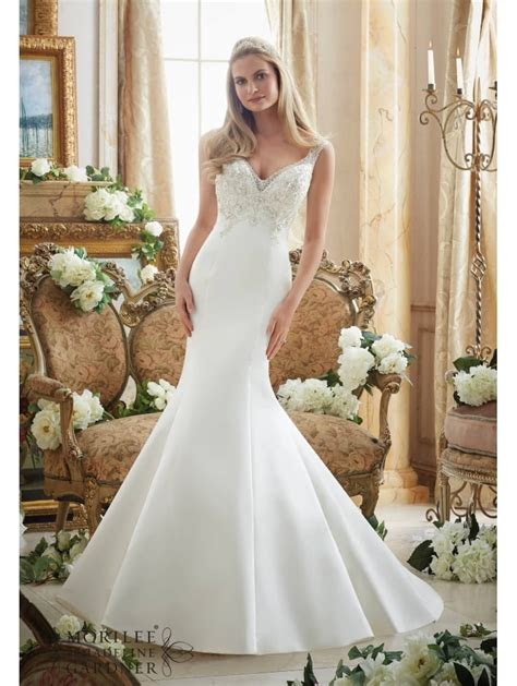 Mori Lee 2893 Beaded Duchess Satin Fit & Flare Ivory/silver