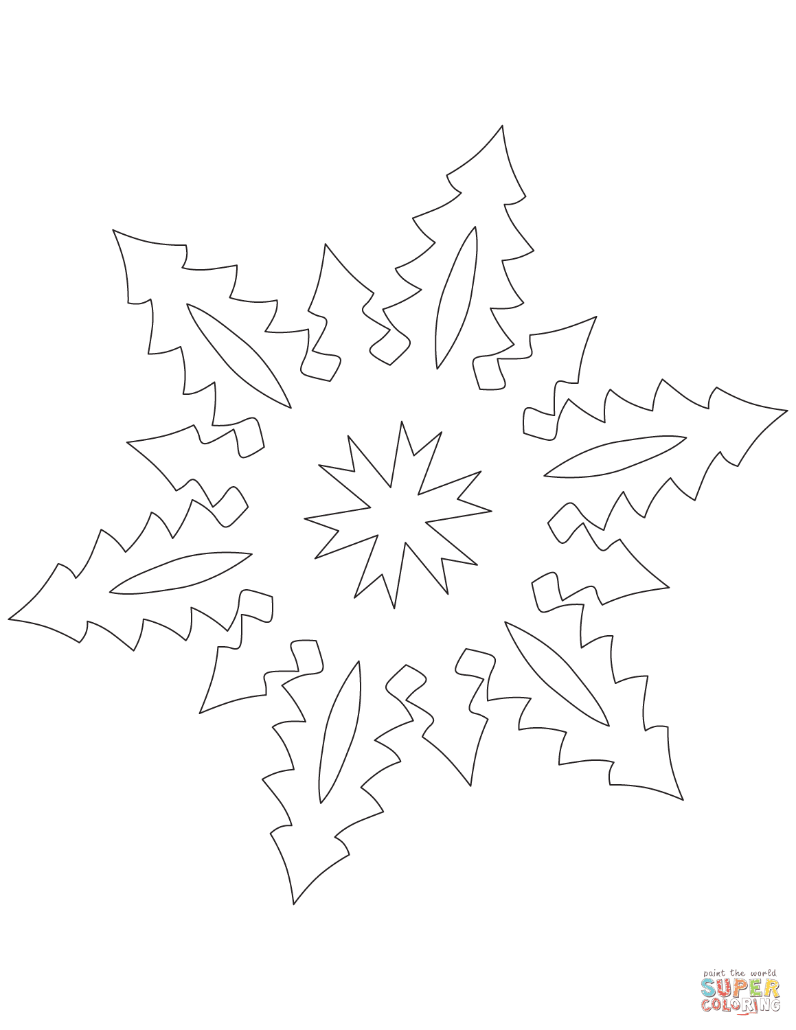 Snowflake with Tall Christmas Trees Pattern coloring page ...