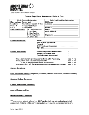 Psychiatric Assessment Template - Fill Online, Printable ...