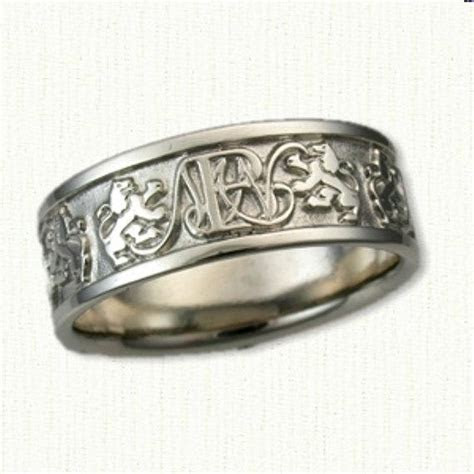 Custom Monogram & Rampant Lion Wedding Band 8mm Wide 14kt