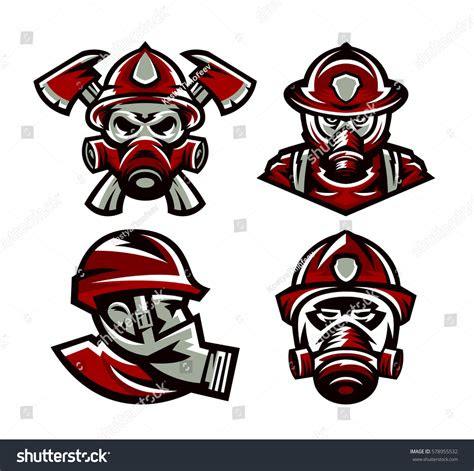 set colorful logos fire department fireman stock vector