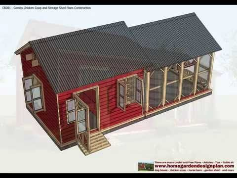 Home garden plans cb201 combo plans chicken coop for Storage shed playhouse combo plans