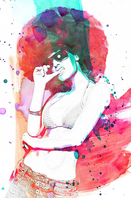 Watercolor and pencil premium Photoshop Action