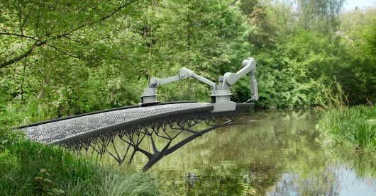 A robot is planning to 3D print a steel bridge in Amsterdam