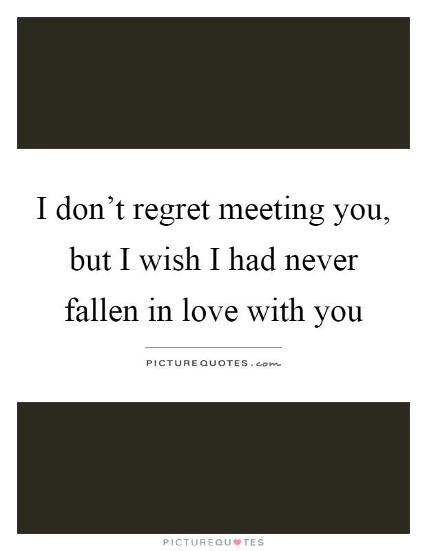 I Dont Regret Meeting You But I Wish I Had Never Fallen In
