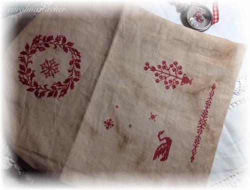 Redwork Snowflake Sewing Bag