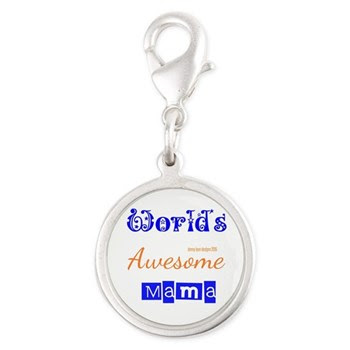 World's Awesome Mama Silver Round Charms