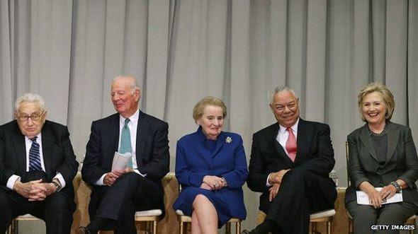 Henry Kissinger, James Baker, Madeleine Albright, Colin Powell y Hillary Clinton