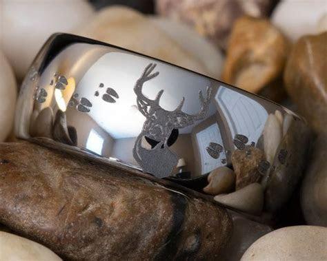 Deer Hunting Wedding Rings   Tungsten Ring 10mm Dome