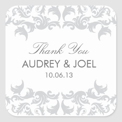 Glamorous Silver Wedding Favor Stickers