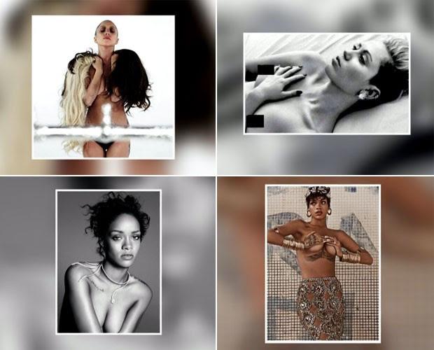 Lady Gaga, Miley Cyrus e Rihanna adrem ao topless (Foto: Arquivo Pessoal)