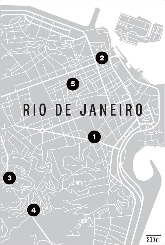 Mapa do Rio de Janeiro com as localizações de cada ilustração feita por Cássio Loredano  (Foto: época )
