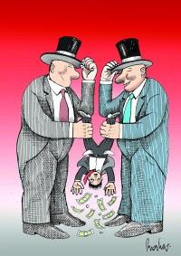 Banqueros y usuarios. Cartón de Rocha