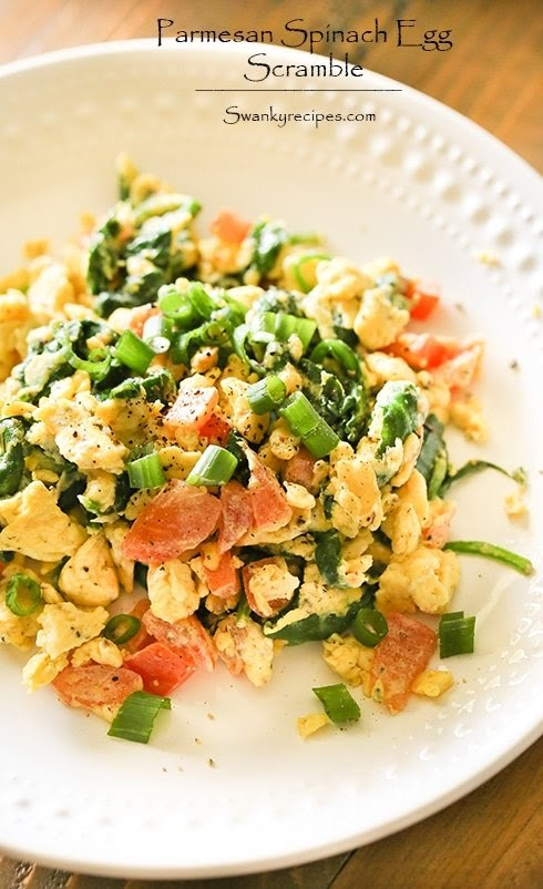 Parmesan Spinach Egg Scramble & Custom Meal Plans with PlateJoy - Swanky Recipes