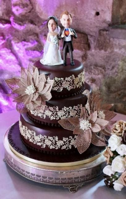 Chocolate 3 Tier Wedding Cake with Realistic Bobblehead