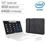 "HP 14"" Chromebook Bundle- Intel Celeron - 1080p - Bonus Sleeve & Wireless Mouse - White"