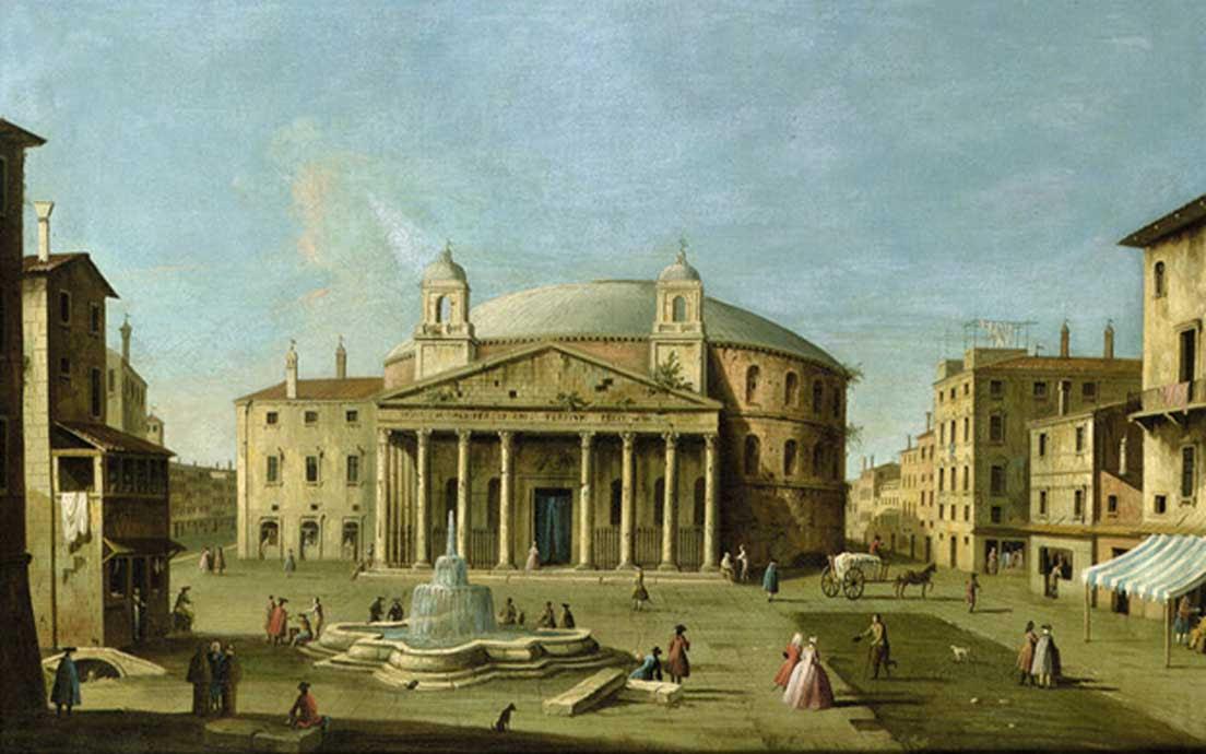 Vista del Panteón de Roma atribuida al Maestro de las Vistas de la Fundación Langmatt, óleo pintado en torno al 1760 (Dominio público)