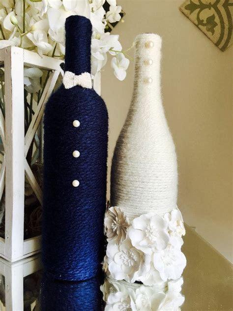 Bride and Groom Wine Bottles   Wedding Centerpiece